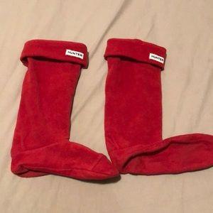 Hunter red fleece socks - M
